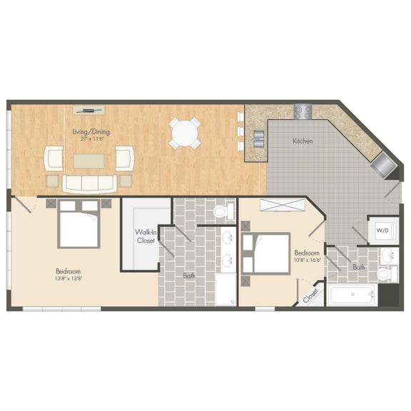 B3 – 2 Bedroom 2 Bath Floor Plan Layout – 1281 Square Feet