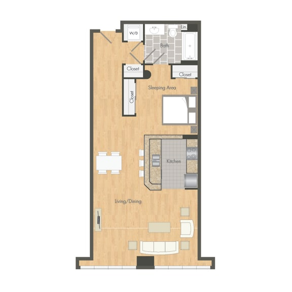 Studio – 0 Bedroom 1 Bath Floor Plan Layout – 790 Square Feet