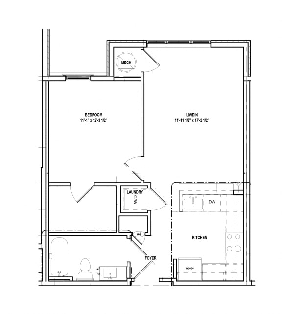 Floor Plan  Riverwoods at Tollgate II - 1 Bedroom Floor Plan 1A