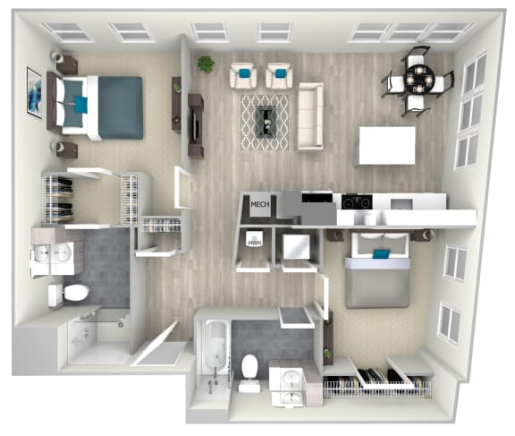 Two Bed Two Bath 1066 Floor Plan at Nightingale, Providence, 02903