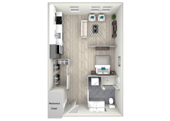 Studio One Bath Floor Plan at Nightingale, Providence, RI, 02903