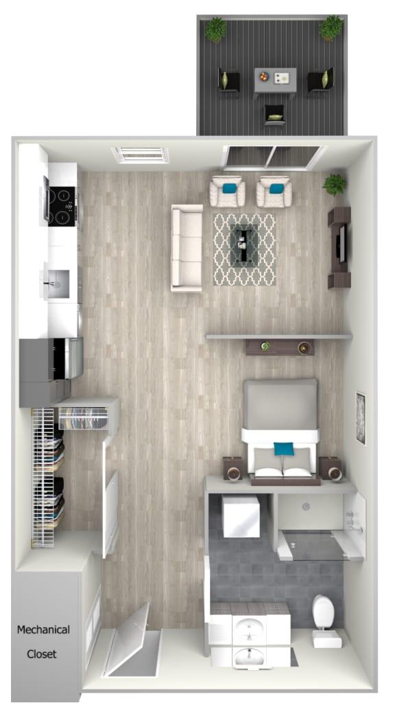 Studio One Bath with Patio 502 Floor Plan at Nightingale, Rhode Island, 02903