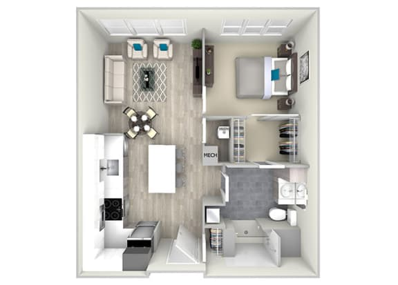 One Bed One Bath 748 Floor Plan at Nightingale, Providence, 02903