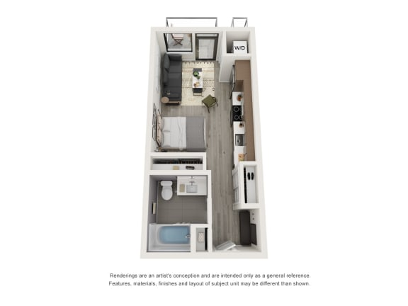 4th and J San Diego, CA S3 Floor Plan 415 to 420 SF