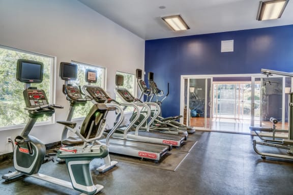 Fitness Center with Blue Wall at Serenity at Larkspur, Larkspur, 94939