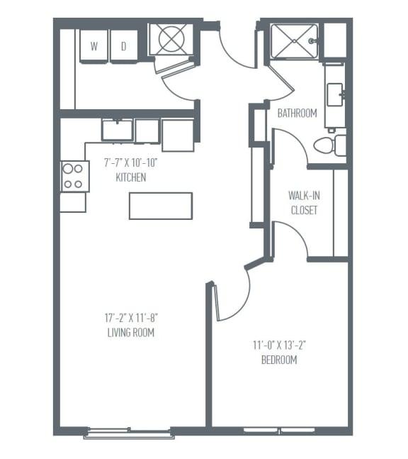 Floor Plan  B1 Floor Plan at Union Berkley, Missouri, 64120
