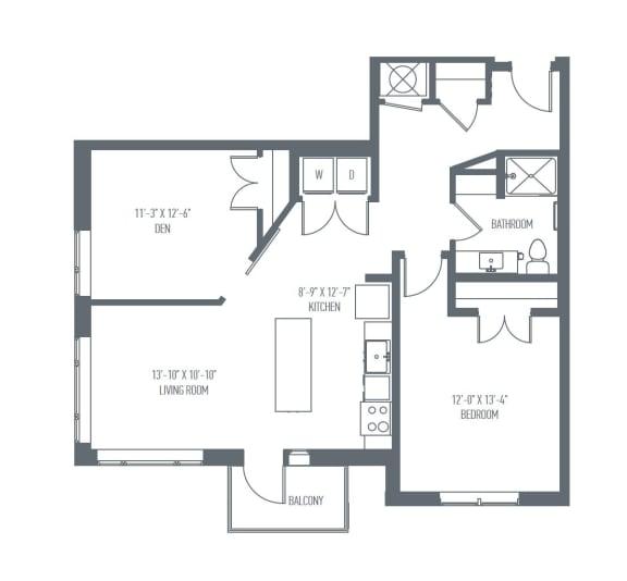 C2 Floor Plan at Union Berkley, Kansas City
