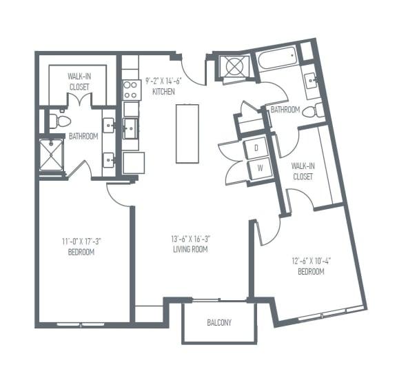 Floor Plan  D3 | D4 Floor Plan at Union Berkley, Kansas City, Missouri