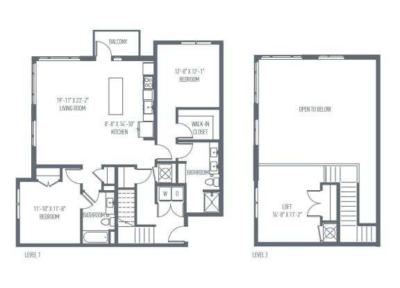 Floor Plan  P1 Floor Plan at Union Berkley, Missouri, 64120