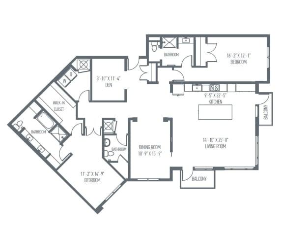 Floor Plan  P3 Floor Plan at Union Berkley, Kansas City, MO