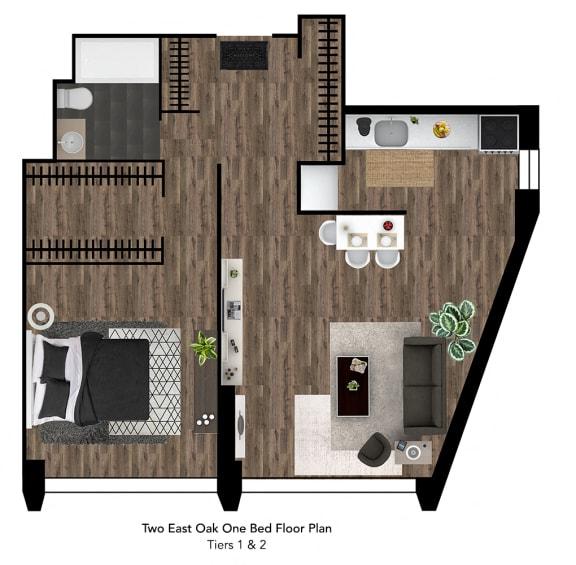 Two East Oak Floor Plan Tier 1-2