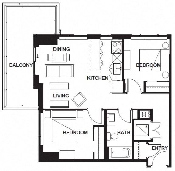 Floor Plan  E-X07 FloorPlan at VERSUS, Calgary, T2R 1A8