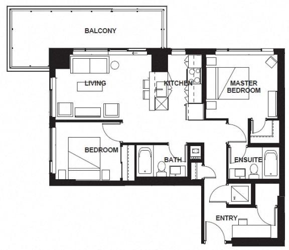 Floor Plan  W-X07 FloorPlan at VERSUS, Calgary, AB, T2R 1A8