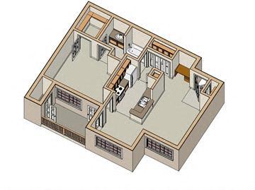 1 Bed - 1 Bath, 750 sq ft, floor plan