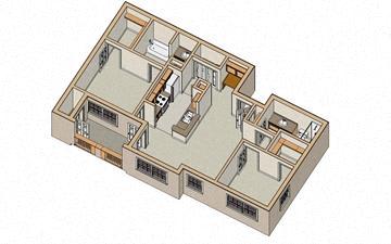 2 Bed - 2 Bath, 987 sq ft, floor plan