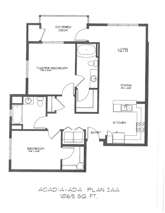 Floor Plan  Two Bedroom at StonePointe, University Place, WA, 98466