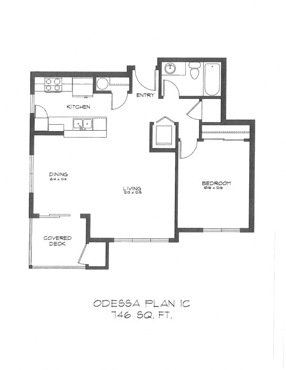 Floor Plan  One Bedroom at StonePointe, University Place, WA, 98466