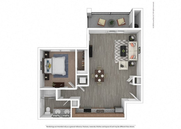Floor Plan  One bedroom One bathroom at Edgewater at the Cove, Oregon, 97045