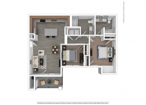 Floor Plan  Two bedroom Two bathroom at Edgewater at the Cove, Oregon City, OR