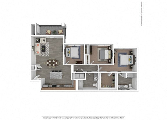 Floor Plan  Three bedroom Two bathroom at Edgewater at the Cove, Oregon City