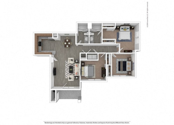 Floor Plan  Three bedroom Two bathroom at Edgewater at the Cove, Oregon