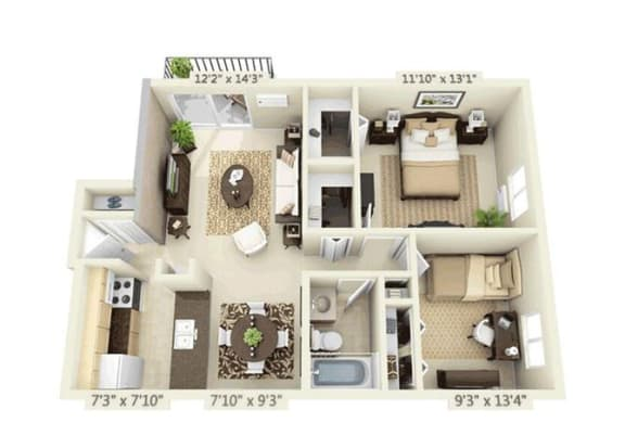 2 Bed 1 bath 2x1 Floor Plan at Orion 59, Naperville