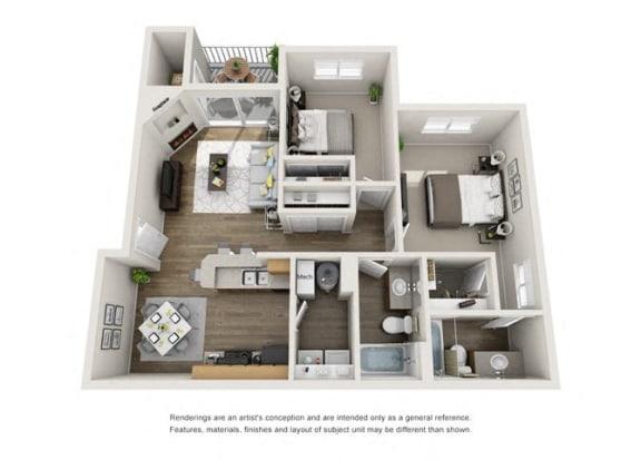Floor Plan  two bedroom, two bathroom modern
