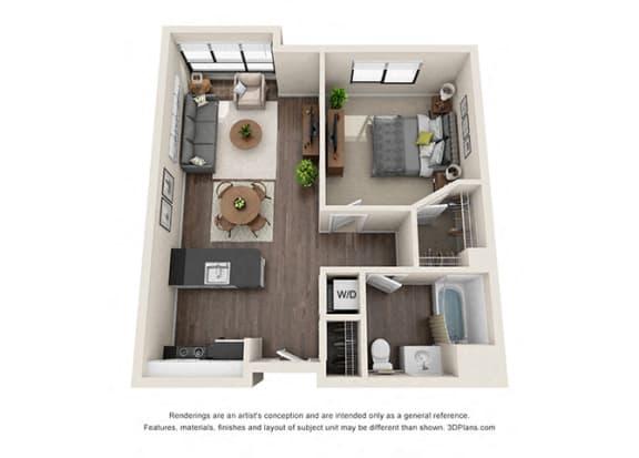 One Bedroom Floor plan for apartments in wilshire vermont