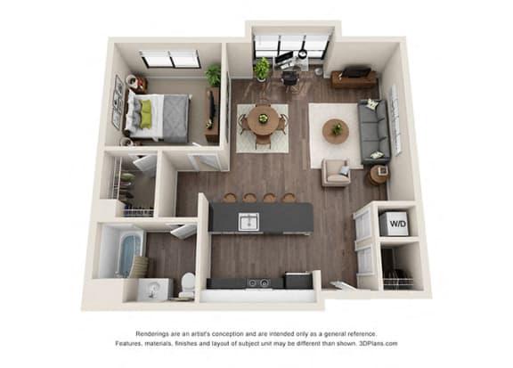 Floor Plan  One Bedroom Floorplan with large windows