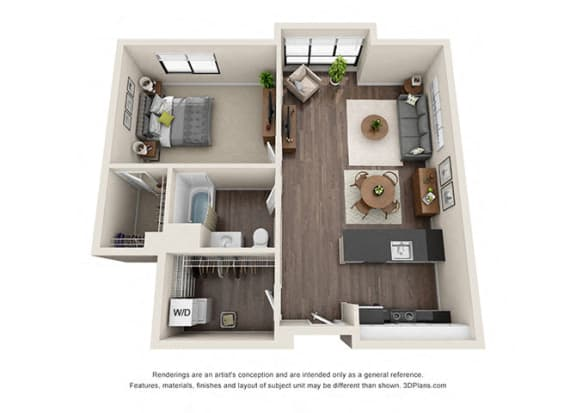 Floor Plan  One Bedroom Floorplan with open concept area for apartments in los angeles