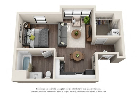 Floor Plan  Studio 3 apartment layout option for residents of wilshire vermont