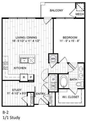 Floor Plan  1 Bed, 1 Bath w Study -B2