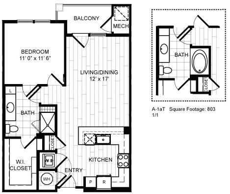 Floor Plan  1 Bed, 1 Bath - A1a