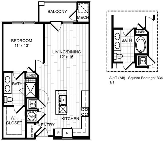 Floor Plan  1 Bed, 1 Bath - A1x