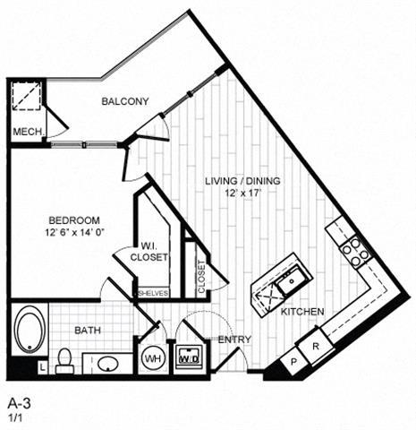 Floor Plan  1 Bed, 1 Bath -A3