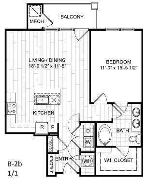 Floor Plan  1 Bed, 1 Bath - B2b