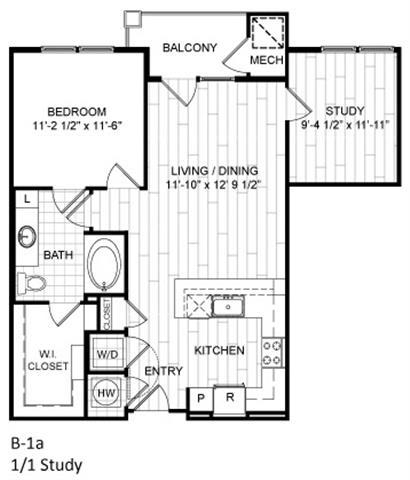 Floor Plan  1 Bed, 1 Bath, Study - B1a