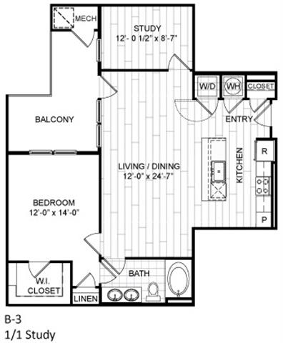 Floor Plan  1 Bed, 1 Bath, Study - B3