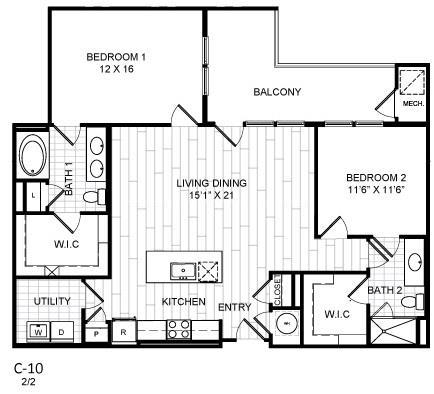Floor Plan  2 Bed, 2 Bath - C10