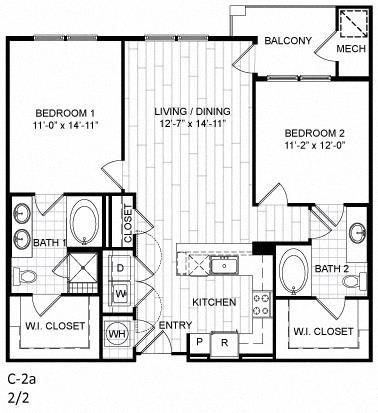 Floor Plan  2 Bed, 2 Bath - C2a