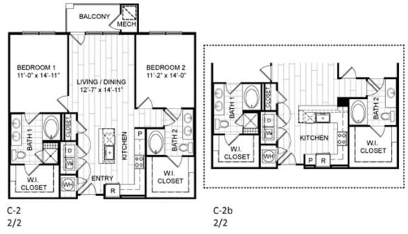 Floor Plan  2 bed, 2 bath - C2.b
