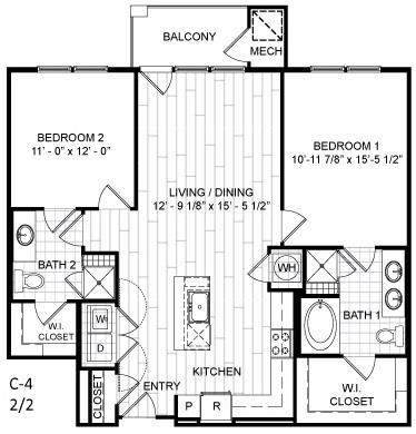 Floor Plan  2 Bed, 2 Bath - C4