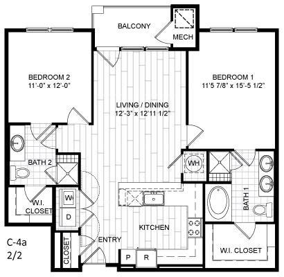 Floor Plan  2 Bed, 2 Bath - C4a