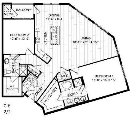 Floor Plan  2 Bed, 2 Bath - C6