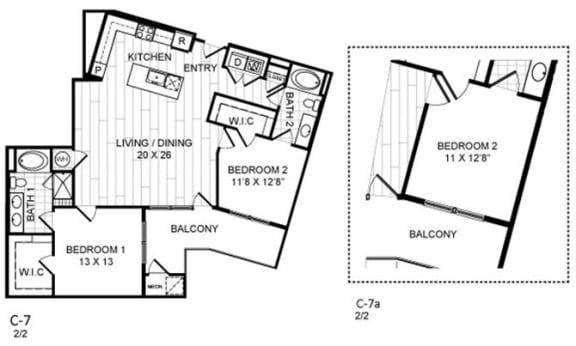 Floor Plan  2 Bed, 2 Bath - C7.a