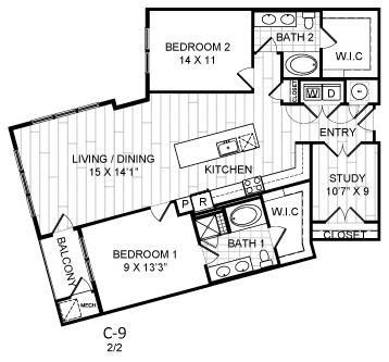 Floor Plan  2 Bed, 2 Bath, Den - C9