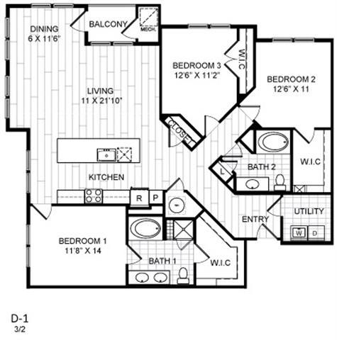 Floor Plan  3 Bed, 2 Bath - D1