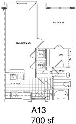 Floor Plan  1 Bedroom, 1 Bath 700 SF A13