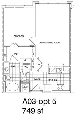 Floor Plan  1 Bedroom, 1 Bath 749 SF A3.4