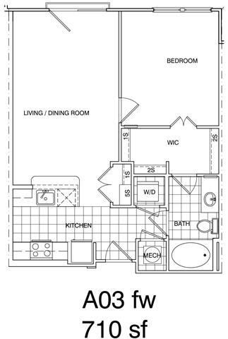Floor Plan  1 Bedroom, 1 Bath 710 SF A3
